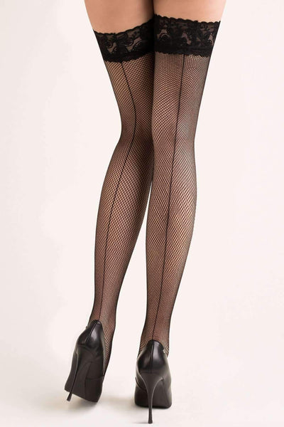 Gabriella Fishnet Hold Ups - Black Thigh High Stockings - Naughty Knickers