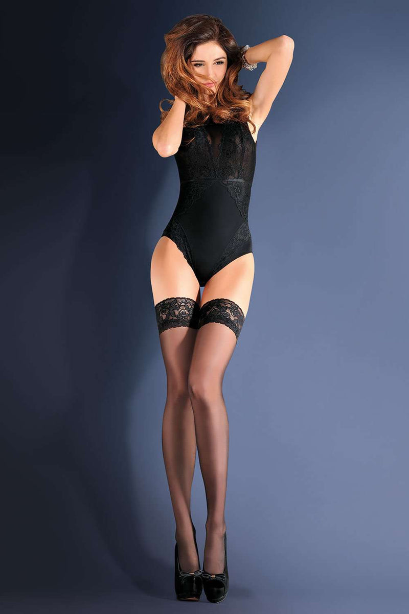 Gabriella Erotica Classic Lace Top Hold Ups, (NR)-643-1/2, (NR)-643-3/4
