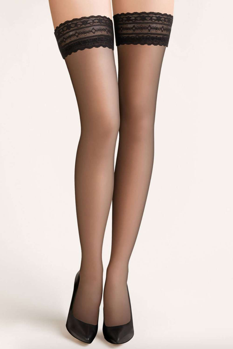 Gabriella Classic Lace Top Hold Ups 8 Denier