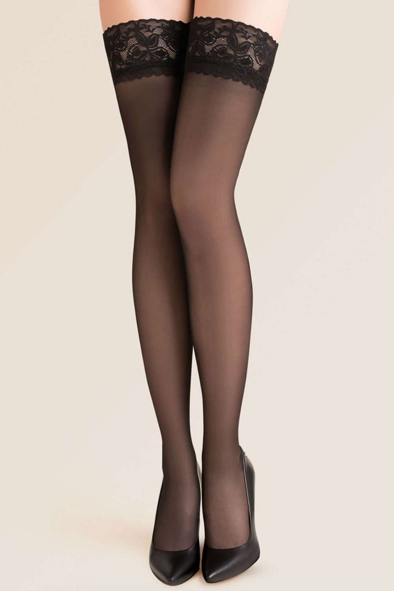 Gabriella Sheer Hold Ups - Black Thigh Highs - Naughty Knickers