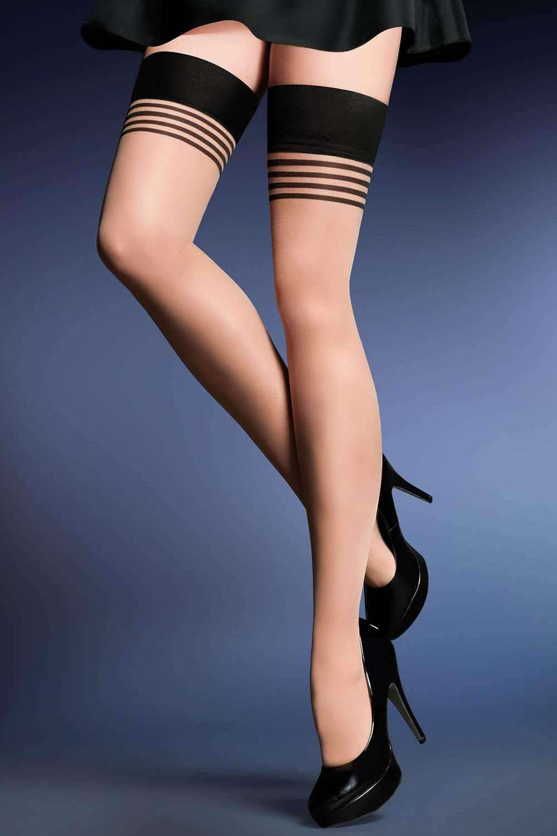 Gabriella Patterned Hold Ups - Sheer Hold Ups - Naughty Knickers