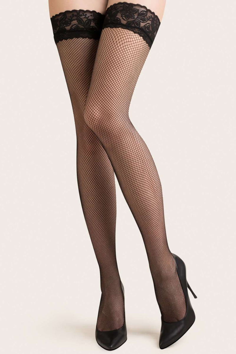Gabriella Fishnet Hold Ups - Black Thigh Highs - Naughty Knickers - Stockings