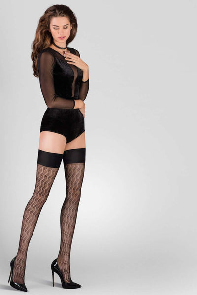 Gabriella Patterned Hold Ups - Designer Thigh Highs - Naughty Knickers