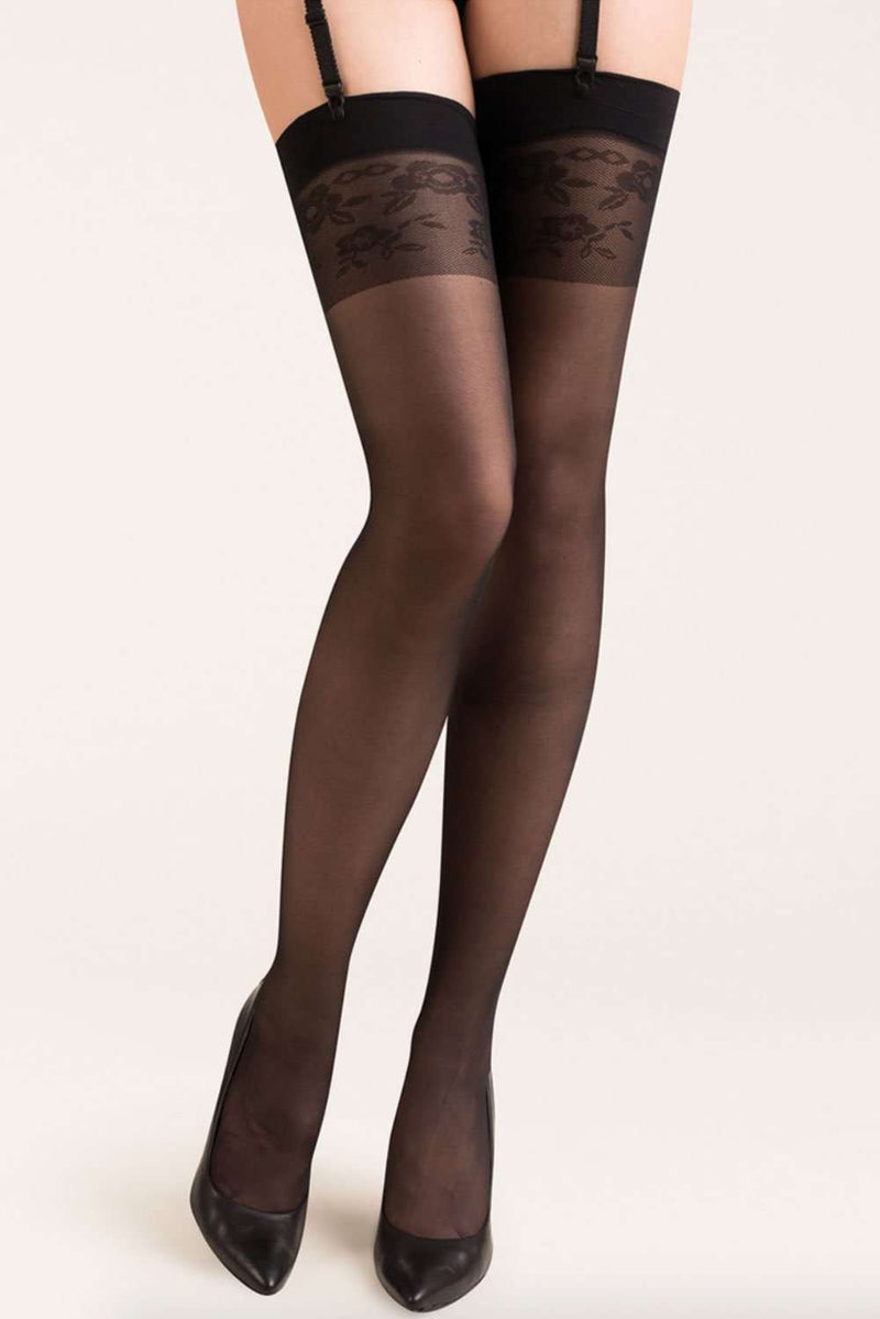 Gabriella Sheer Stockings - Patterened Stockings - Naughty Knickers