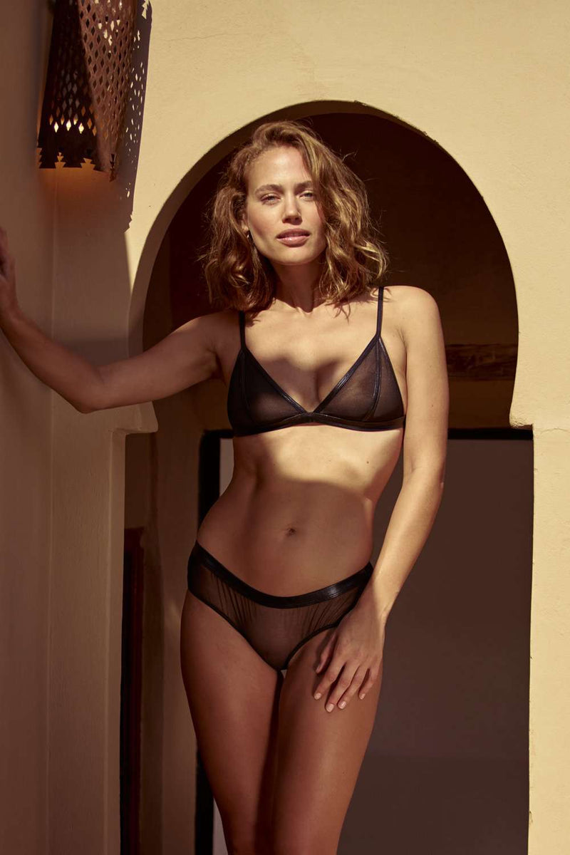 Inamorata London Mesh Triangle Bra Dahlia - Naughty Knickers