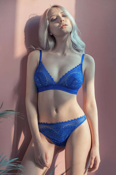 Jolidon Lily Rose - Lace Thong - Blue Lingerie - Naughty Knickers
