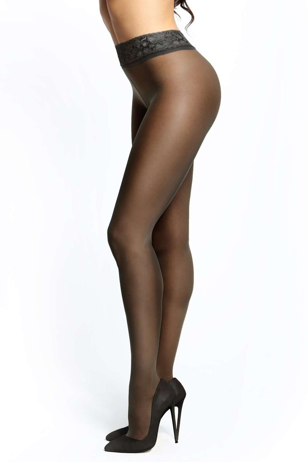 missO Open Crotch Lace Top Tights 20 Denier