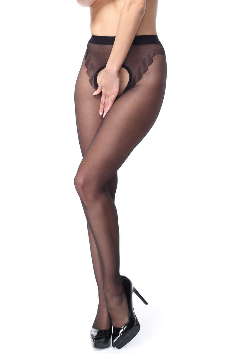 missO Open Crotch Back Seamed Tights 20 Denier
