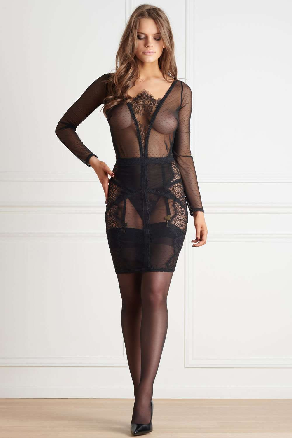 Maison Close - Long Sleeve Dress - Midi Dress - Naughty Knickers