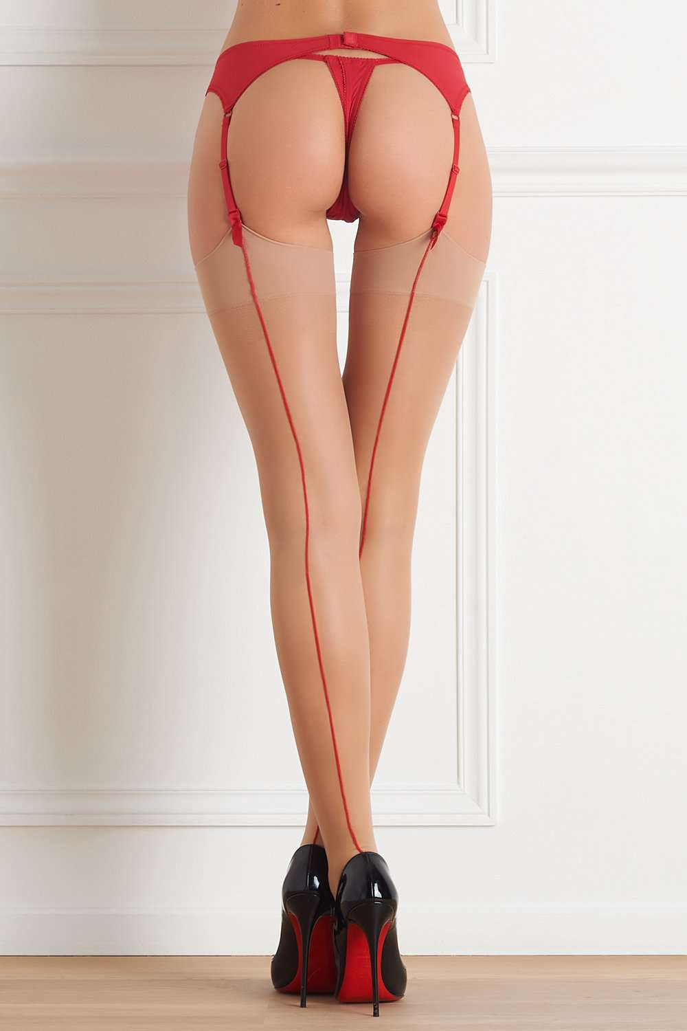 0325a8a3a61 Maison Close Nude Stockings with Red Back Seam