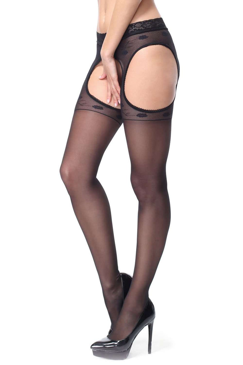 missO Black Sheer Tights - Patterned Pantyhose - Naughty Knickers