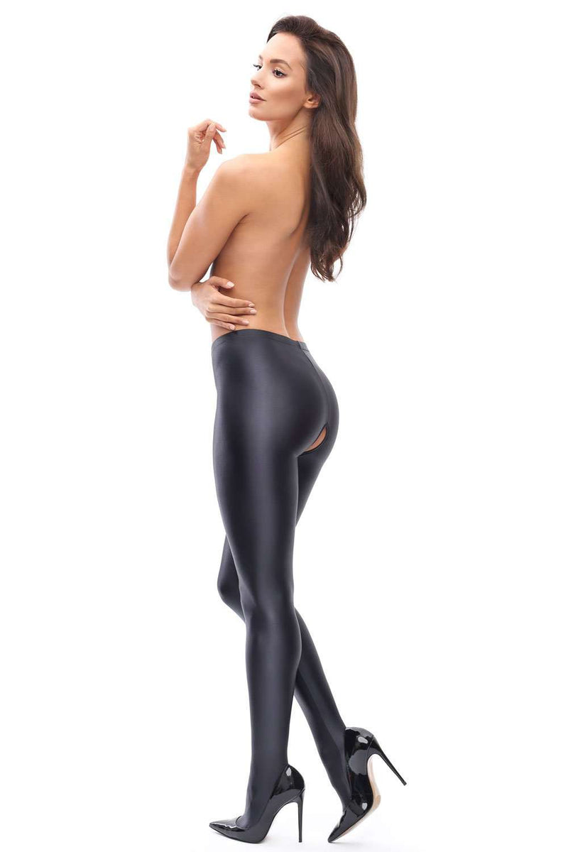 missO Lycra Glossy Opaque Crotchless Tights - Naughty Knickers