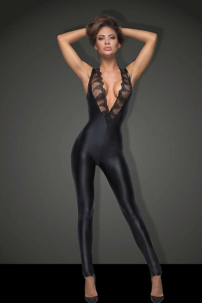 Noir Handmade Catsuit with Lace F167 - Naughty Knickers