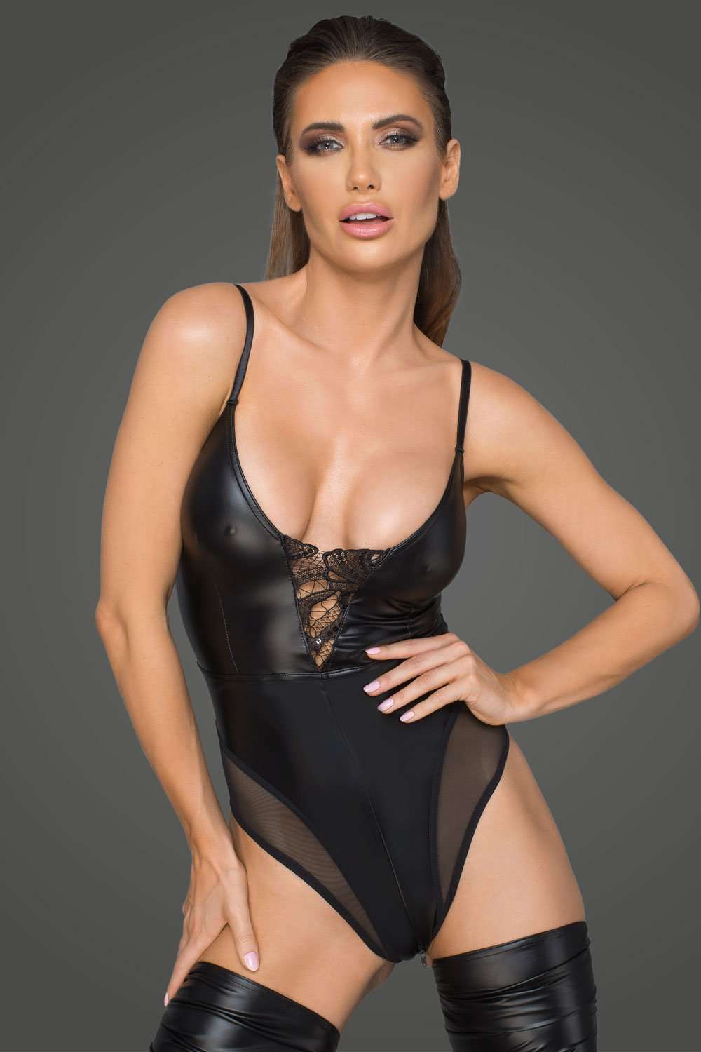 Noir Handmade Wetlook Body With 2-Way Zip