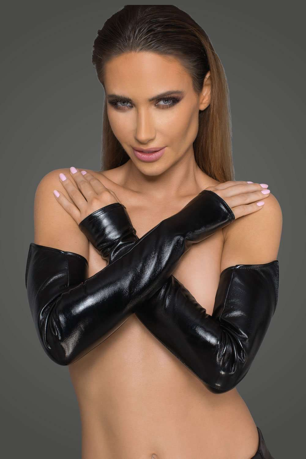 Noir Handmade Wetlook Gloves, F197-L-XL, F197-S-M