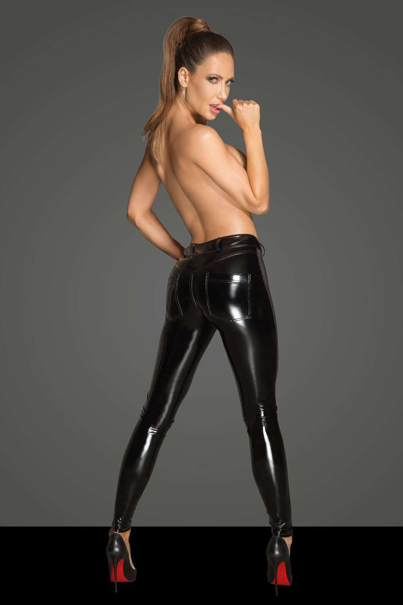 Noir Handmade PVC Leggings With Tulle - Naughty Knickers