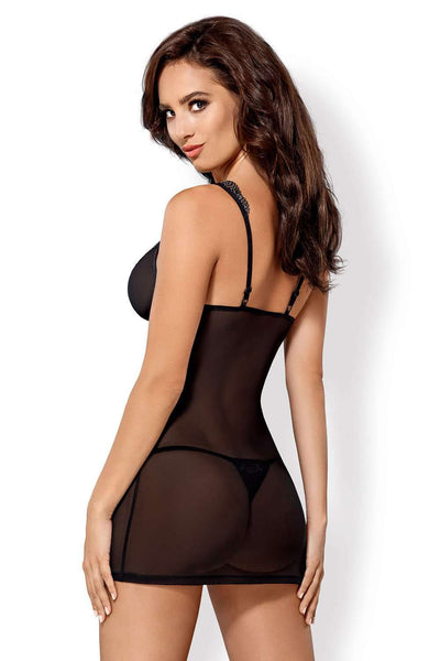 Obsessive Chemise & Thong With Geometric Lace, 869-CHE-1-L/XL, 869-CHE-1-S/M