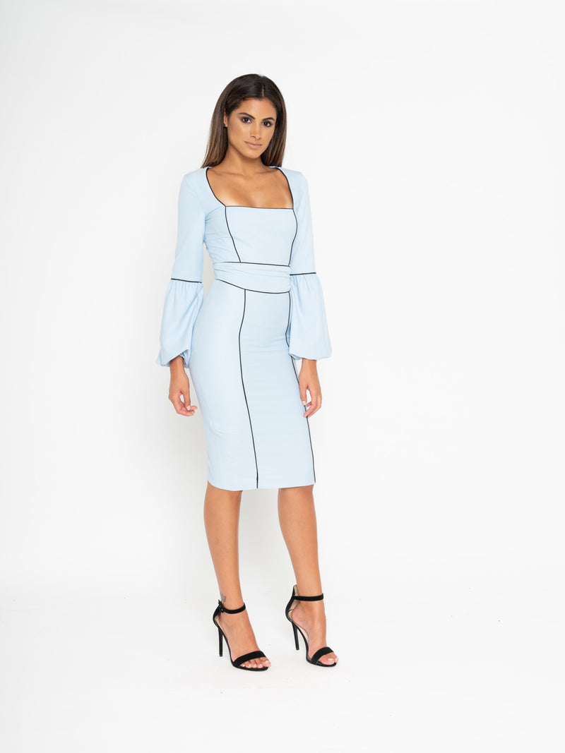 blue crepe puff sleeve contrast seam dress