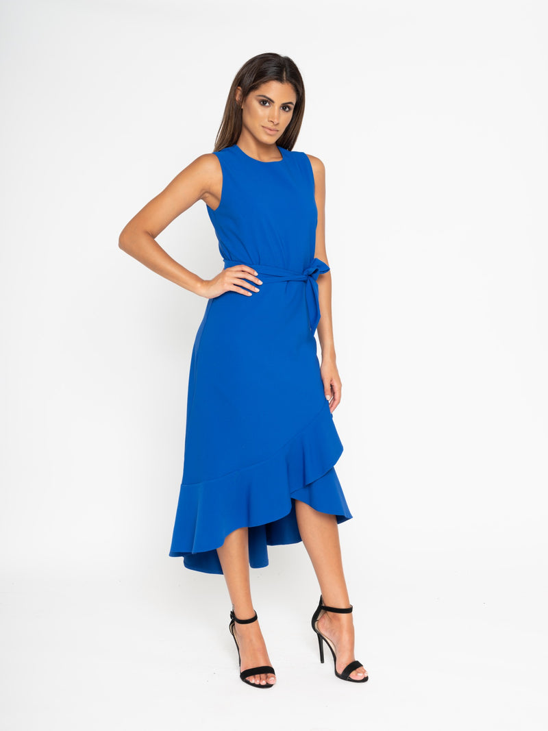 Blue frill hem dress
