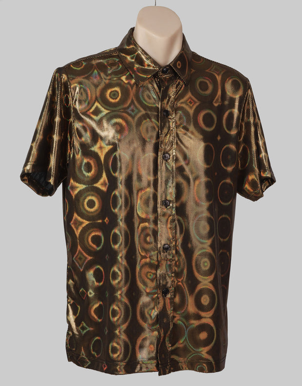 Gold  M-XL Metallic Party Shirt