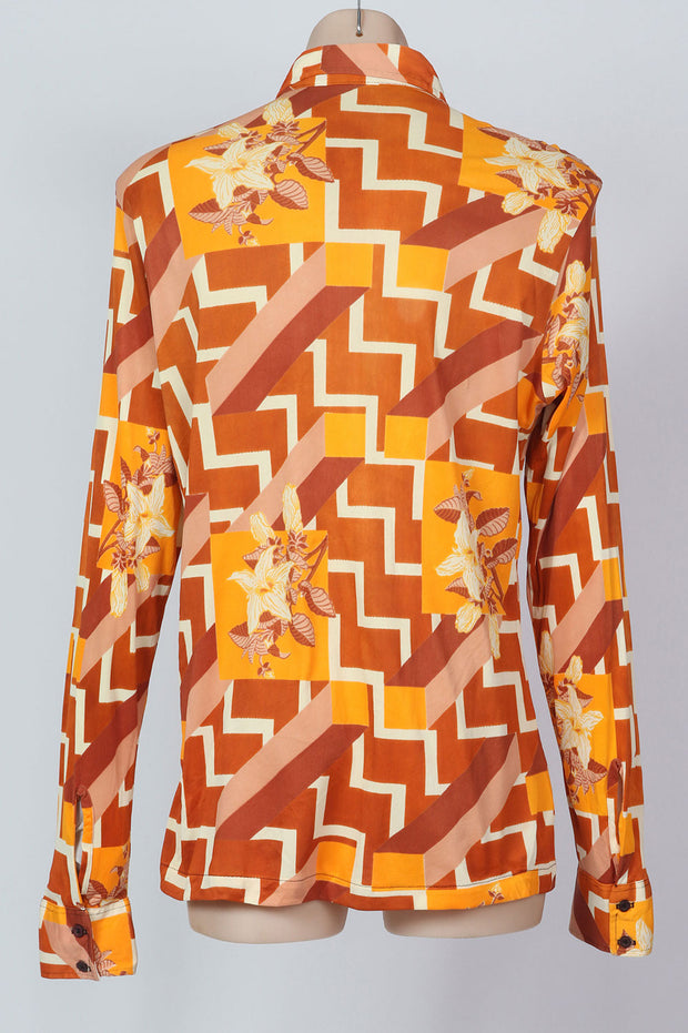1970s S op art print body shirt