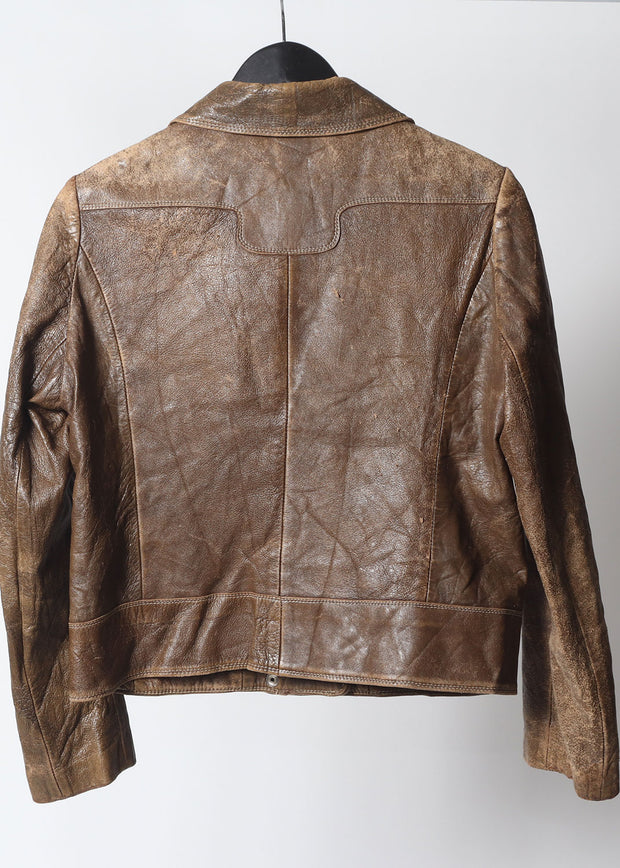 Fab 70's cropped Leather Calfskin Western Jacket