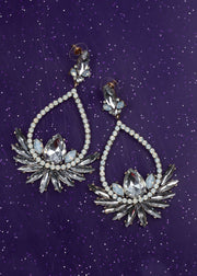 Diamante Cluster Drop Earrings