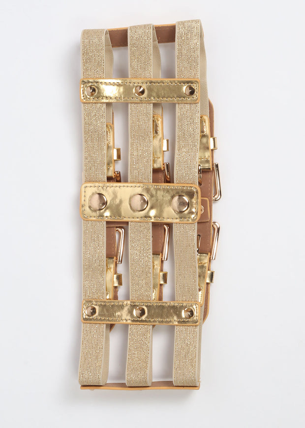 Gold Buckle Front Cage Belt