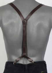 Brown Leather Look Braces