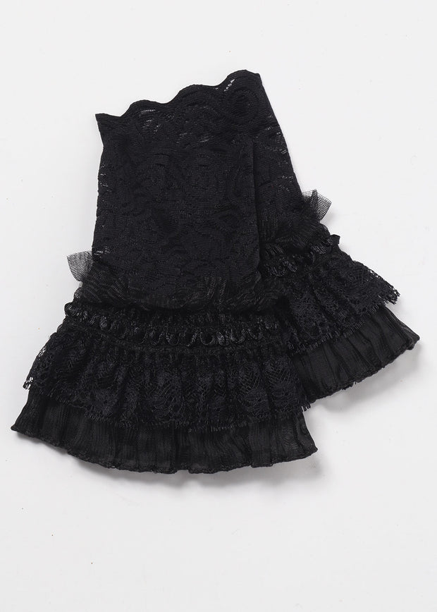 Black Pleated Lace cuffs