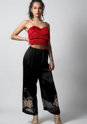 Red tassel crop top