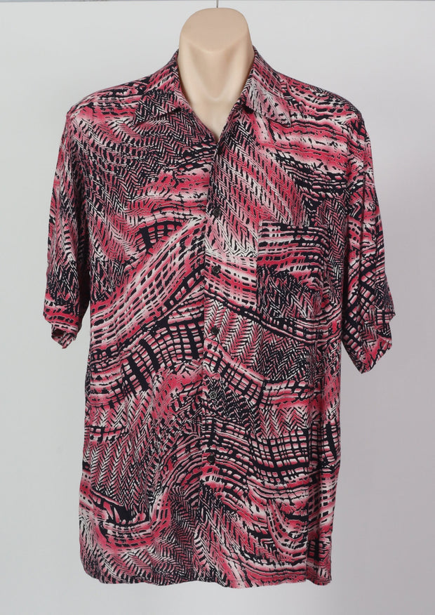 L-XL Feather Print Vintage Shirt