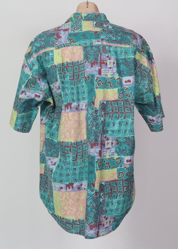 L-XL Batik Patchwork 90's Shirt