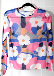 Sheer stretchy flower power bold floral retro top