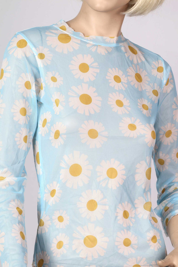 Sheer blue stretchy flower power daisy retro top