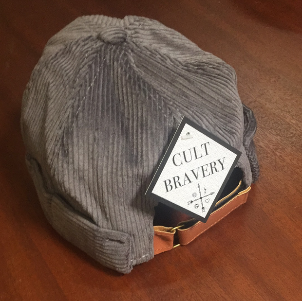 Grey cord fisherman's beanie