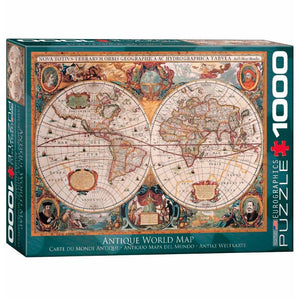 Eurographics Antique World Map - 1000 piezas. Rompecabezas con el diseño del antiguo mapa del mundo. Ideal para coleccionar.