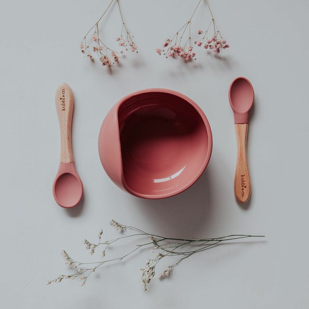 2 Stage Feeding Set: Silicon Suction Bowl with set of 2 Baby and Toddler Spoons - Dusty Rose