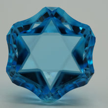 Load image into Gallery viewer, Star of David - 26.28 ct. Blue Topaz - Combination of Concave Facets, Polished flat Facets and Pre polished flat Facets.