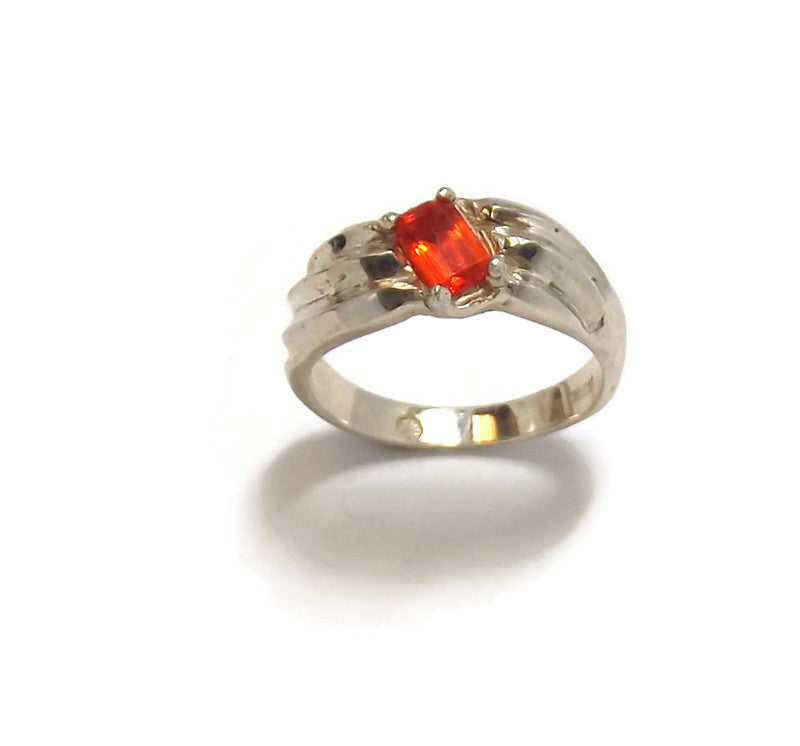 Mexican Fire Opal and Sterling Silver Ring