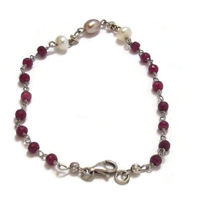 Ruby Beads and Fresh water Cultured Pearl Sterling Silver Bracelet