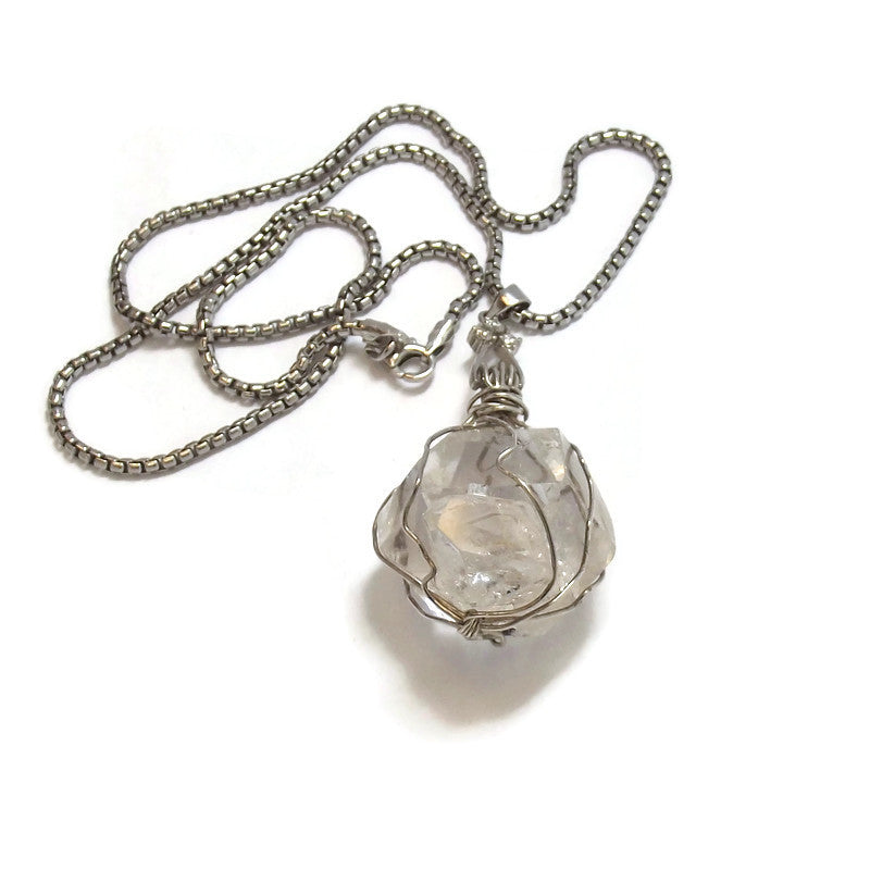 Herkimer Quartz Pendant and Sterling Silver chain