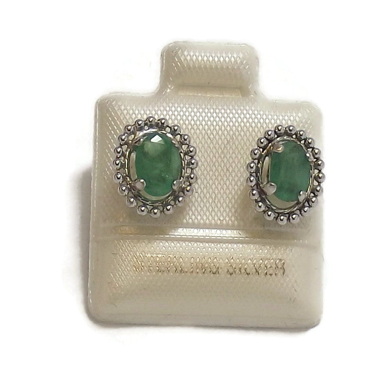 Emerald and Sterling Silver Ear Studs