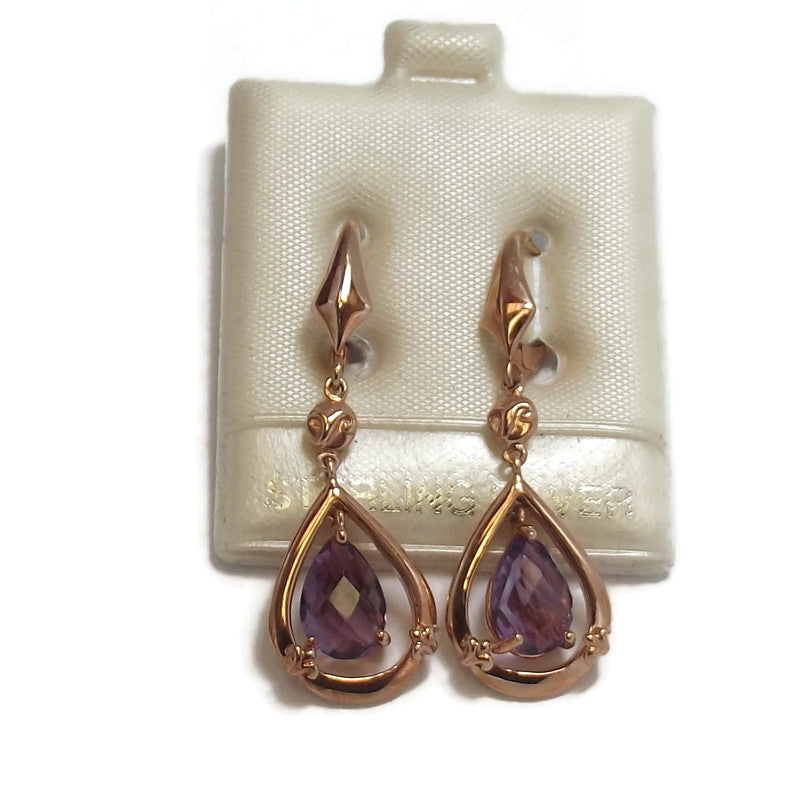 Amethyst and Rose Gold plated Sterling Silver Earrings
