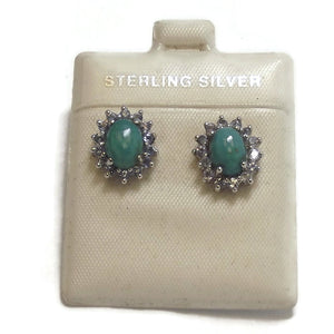 Turquoise and Tanzanite Sterling Silver Ear Studs