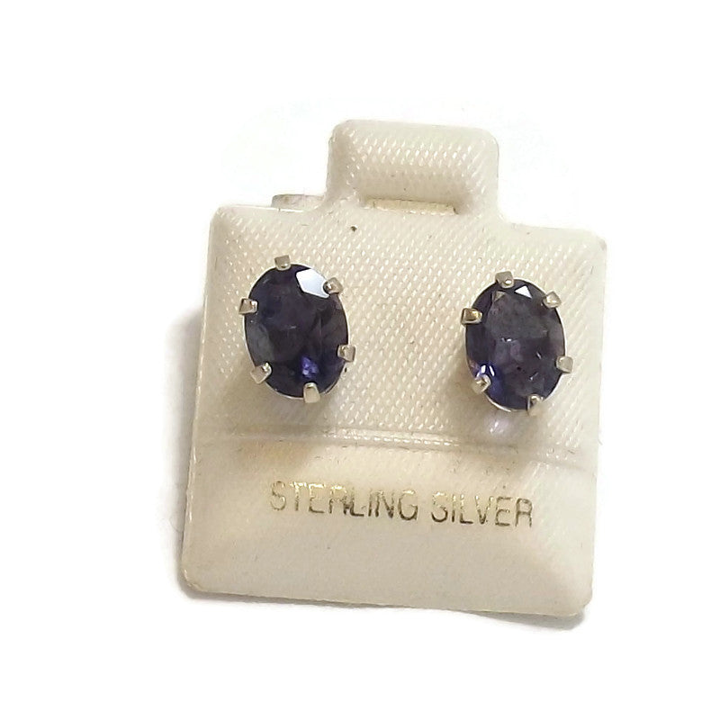Iolite and Sterling Silver Ear Studs