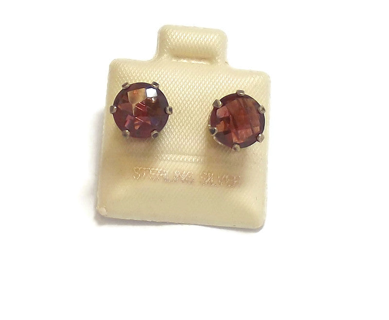 Rhodolite Garnet and Sterling Silver Ear Studs