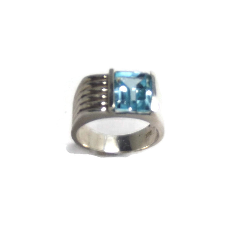 Blue Topaz and Sterling Silver Ring