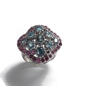 Blue Zircon and Ruby Sterling Silver Ring