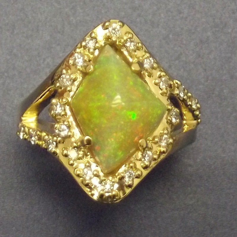 18k yellow gold Ring-Opal and Diamonds-One of a kind.
